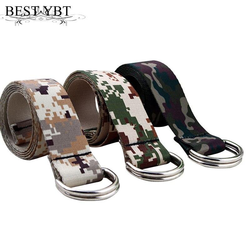 Melhor YBT Unisex Camuflagem Cinto de lona Cinto de lona de alta qualidade da liga de duplo anel fivela qualidade homens Cinto de lona ocasional ao ar livre