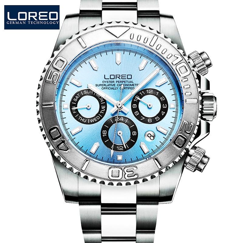 200m للماء الغوص التلقائي الساعات الرجال الذاتي الرياح LOREO الفاخرة العلامة التجارية متعددة الوظائف الميكانيكية ووتش الياقوت مضيئة ووتش