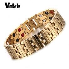 Vinterly or couleur hommes Bracelets santé Bio magnétique Germanium acier inoxydable Bracelet Bracelet pour hommes conçoit Chaine Link