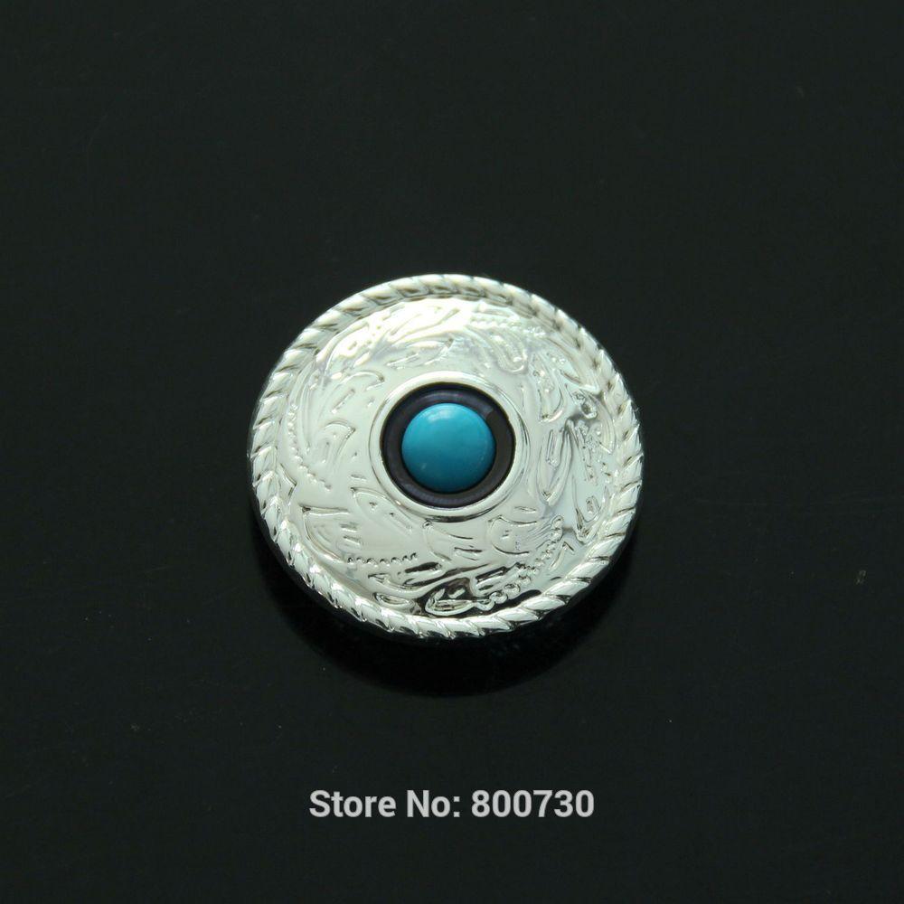 (KB301) al por mayor 50 unidades 1 (2,5 cm) concho de polvo de pradera occidental con piedra azul turquesa Concho