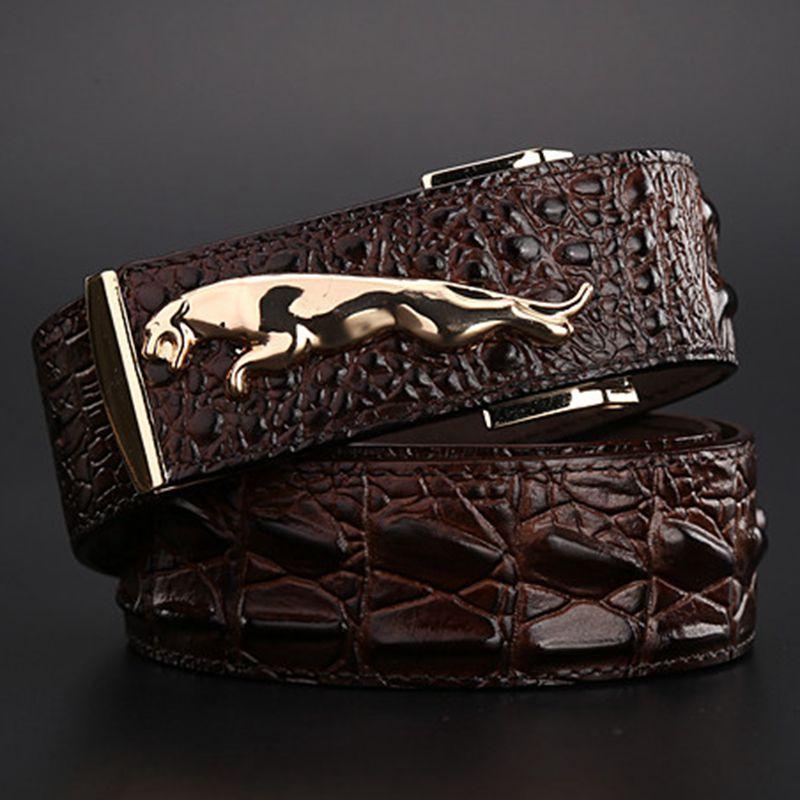 Ремень jaguar в стиле крокодила, Золотой ремень, размер 120 см, высокое качество, модные ковбойские дизайнерские роскошные мужские джинсы на рем...