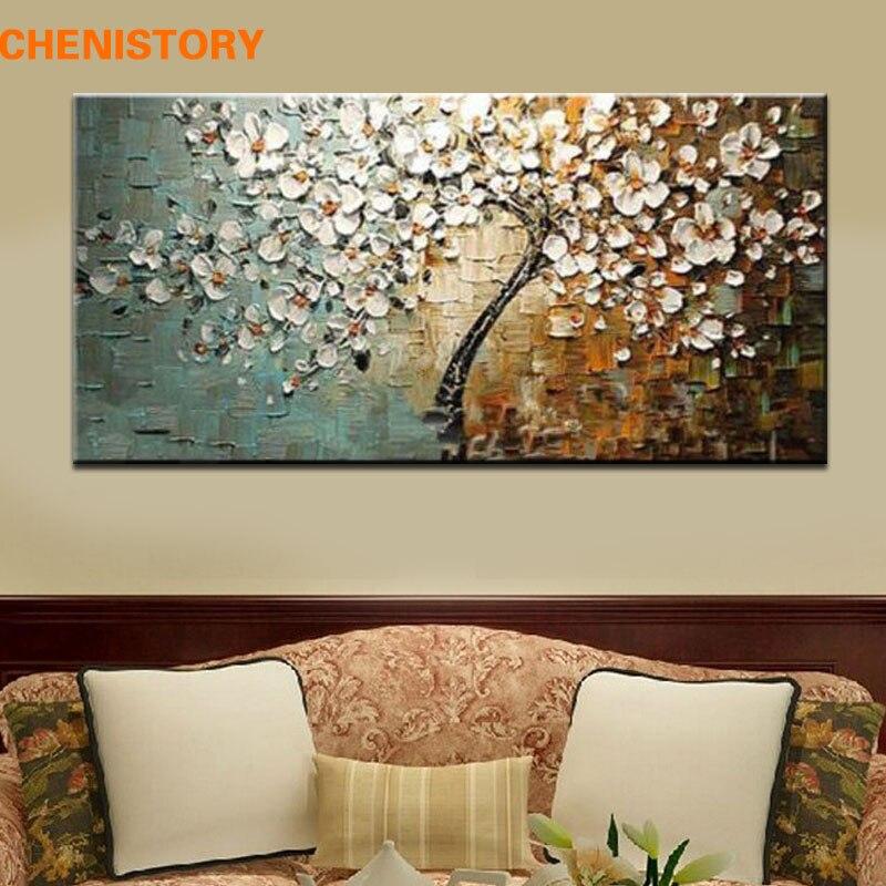 Paleta de árboles de flores sin marco pintado a mano, cuchillo grueso, pintura al óleo sobre lienzo, decoración de pared del hogar para sala de estar, arte para habitación