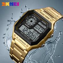 Цифровые мужские часы SKMEI Reloj Deportivo, мужские водонепроницаемые спортивные часы, спортивные наручные часы из нержавеющей стали, Relojes Deportivos ...