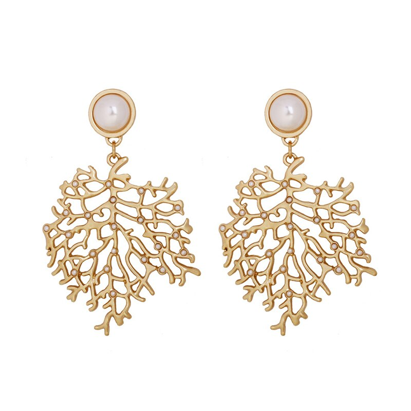 SRCOI lujo Color oro Coral pendientes perlas hojas gran exageración hoja de arce Bohemia pendientes mujeres largos cuelgan Boho Bijoux