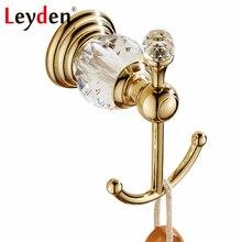 Роскошные аксессуары для ванной Leyden, крючки для одежды, хрустальный крючок для халата, золотой настенный Европейский крючок для полотенец в...