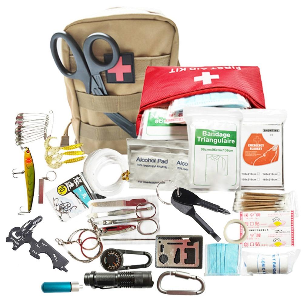 Kit de supervivencia para acampar 26 en 1, kit de supervivencia multifunción de primeros auxilios SOS EDC, equipo militar de supervivencia para tácticas de emergencia