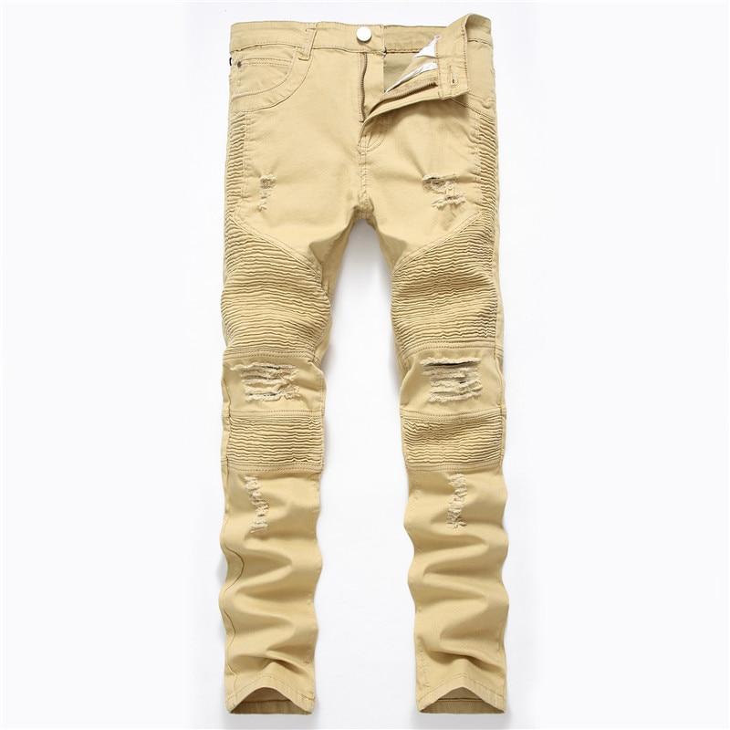 Los hombres de la calle locomotora pantalones de color caqui Stretch pantalones vaqueros rasgados Slim Hip Hop pantalones de mezclilla pantalones Dropshipping. exclusivo.