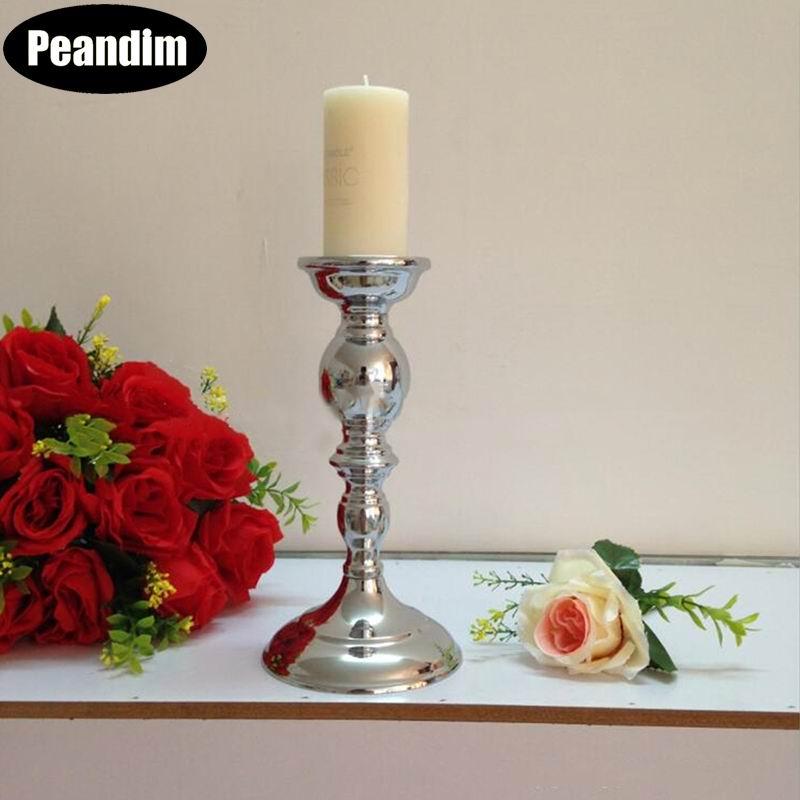 Candelabro de vela de mesa de plata PEANDIM, candelabro de boda, candelabro, candelabro, centro de mesa para eventos, decoración para el hogar/Hotel, 1 lote = 2 uds