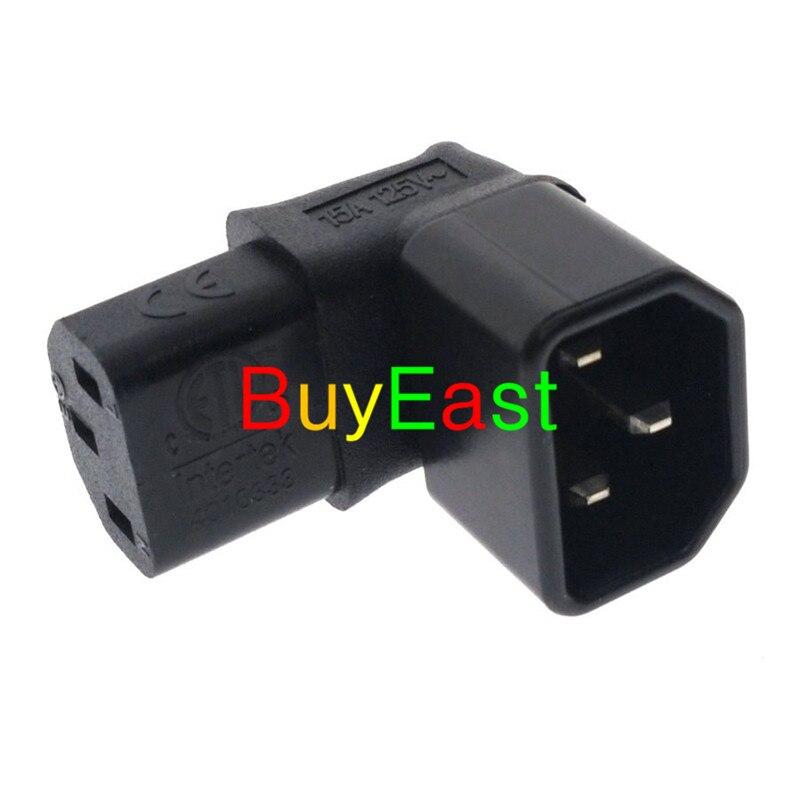 10 X Ángulo recto Universal IEC 320 C14 macho a C13 adaptador hembra para corriente enchufe LCD Pared de TV montaje 15A 125V Color negro