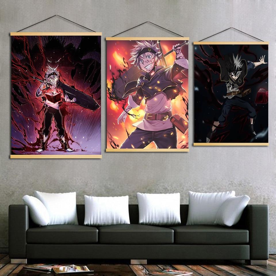 Decoração Arte da parede Preto Trevo Asta Demônio Lona Pendurada Pintura Cartazes Impressos Sólida Madeira De Rolagem Para Sala de estar