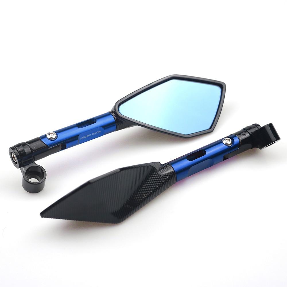 Universal CNC Aluminum Motorcycle Handlebar Rear View Mirrors Blue Anti-glare Mirror for Honda Yamaha Suzuki Scooter ktm