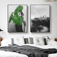 Peintures sur toile pour decoration de maison  Portrait de fille nordique  photos de foret  affiche imprimee moderne pour salon  Art mural