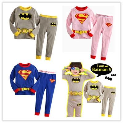 2017 Batman Superman bebés ropa para niños y niñas Pijamas de algodón de manga larga Pijamas para niños Pijamas conjuntos