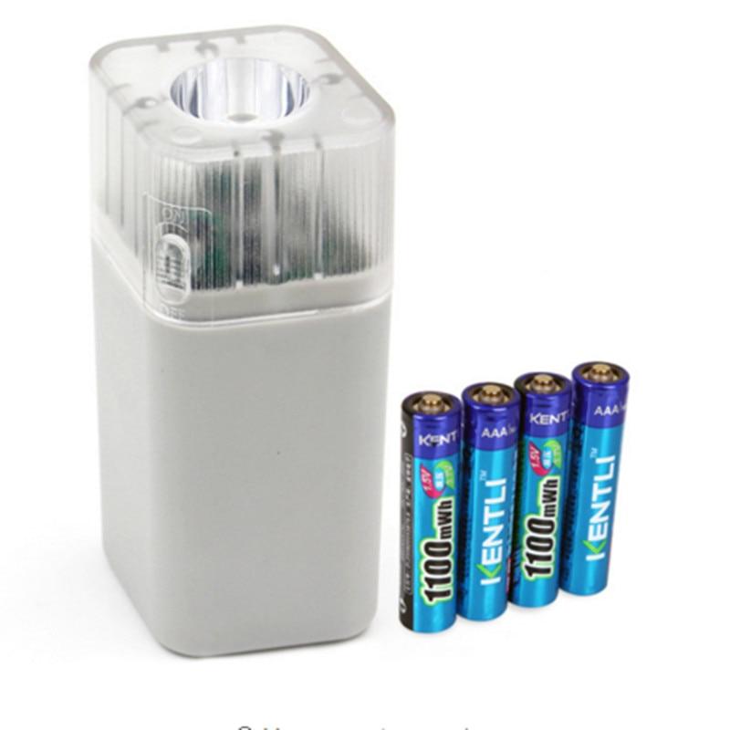 4 pcs li-polímero de lítio kentli 1.5 v aaa bateria recarregável + 4 canais de portas slots carregador aa aaa com lanterna