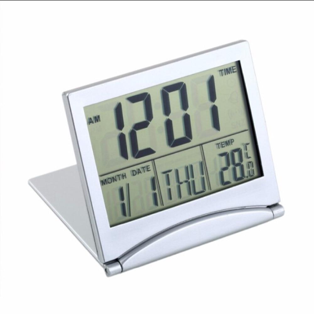 Reloj de mesa escritorio alarma LCD Digital LED plegable temperatura del tiempo viaje Mini voltear sobre reloj electrónico función de repetición