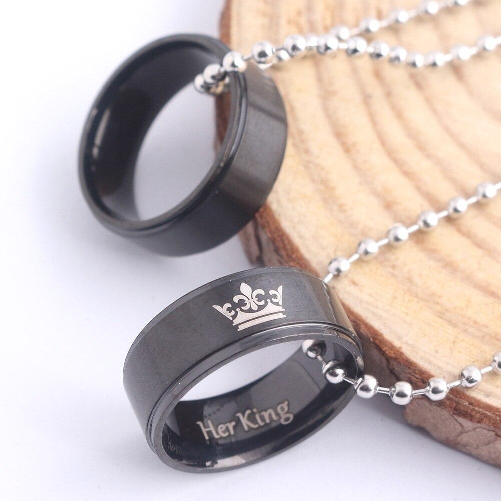 Couple colliers amant sa reine son roi couronne lettre noir rond métal pendentif pour femmes hommes saint valentin cadeau bijoux