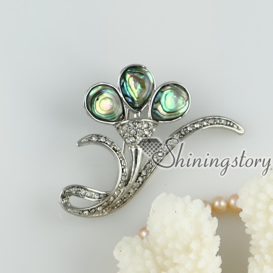 Arco Iris abalone shell broche de diamantes de imitación streamer lágrima broche calado Madre de la perla joyería barata china joyería de moda