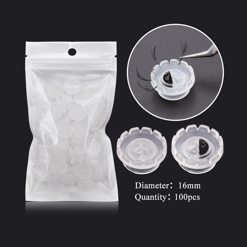 100 unids/bolsa pegamento para extensión de pestañas taza para pestañas ventilador, pestañas individuales de Rusia 3D volumen taza de Material plástico