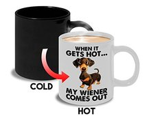 Tasse à café changement de couleur chien drôle   Tasse à café sensible à la chaleur, faux verre de dessin animé, cadeau