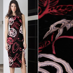 Silk rotten burnout fabric silk dress cheongsam shirt fabric velvet dress high-cost high-end silk velvet fabric wholesale