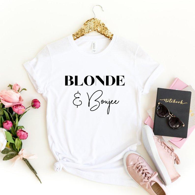 Skuggnas recién llegado Morena y boujee camiseta rubia y boujee camisa morena Bestie Sister camisas Bad and Boujee camisetas