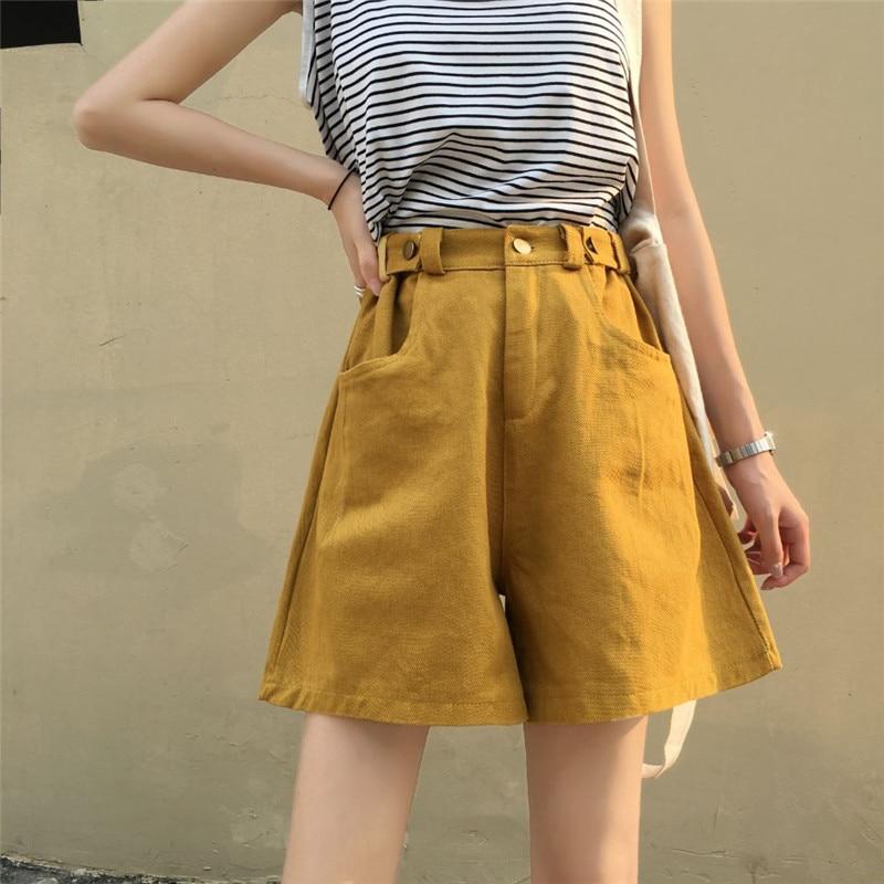 Women Casual Wide Leg Denim Shorts Ladies High Waist Half Long Jeans Shorts Summer Spring Loose Street Wear Shorts New Colors