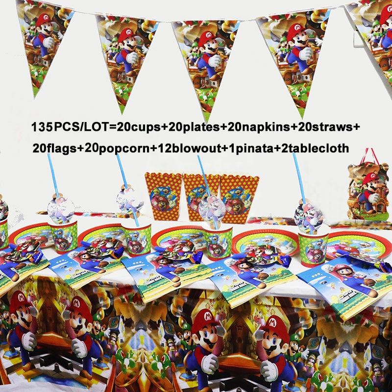 135/68 pçs mario bros festa de aniversário decoração suprimentos conjunto super mario guardanapos toalha de mesa copos placas conjunto de utensílios de mesa descartáveis