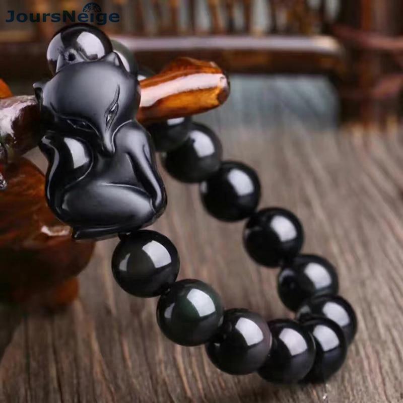 JoursNeige Genuine Natural black Obsidian Stone Bracelets 12mm Bead with Fox Crystal Lucky for Men Women Bracelet Jewelry