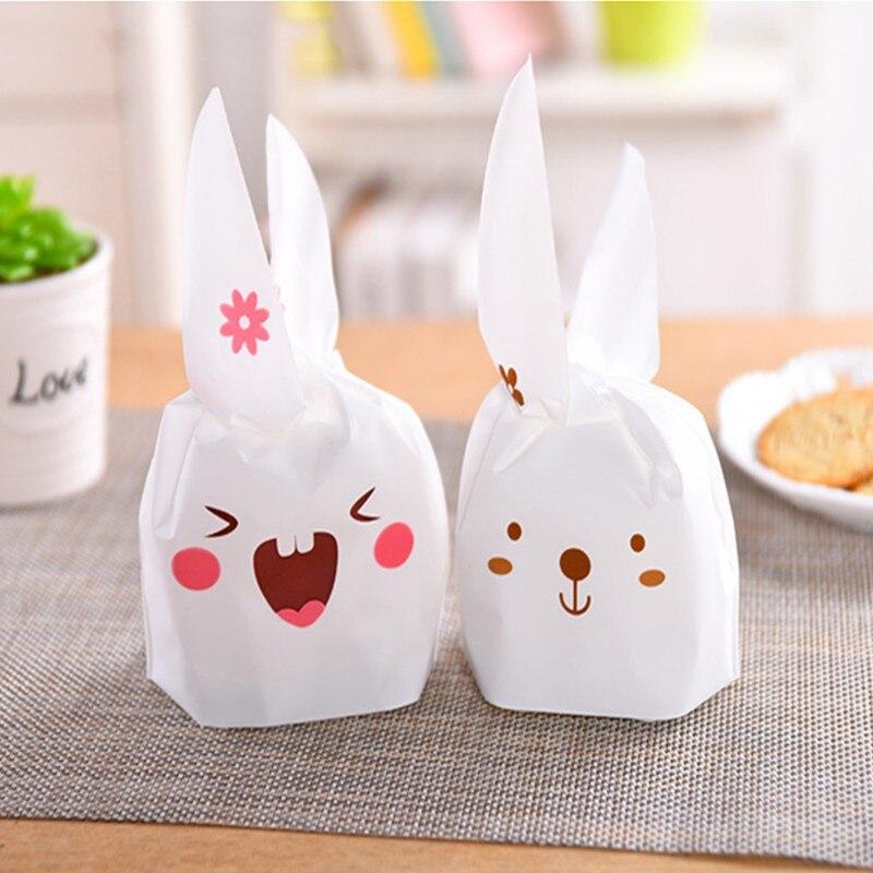 20 шт./лот, подарочные пакеты для свадебных конфет, принадлежности для вечеринок, с кроличьими ушами, украшения для свадьбы, пластиковые конф...