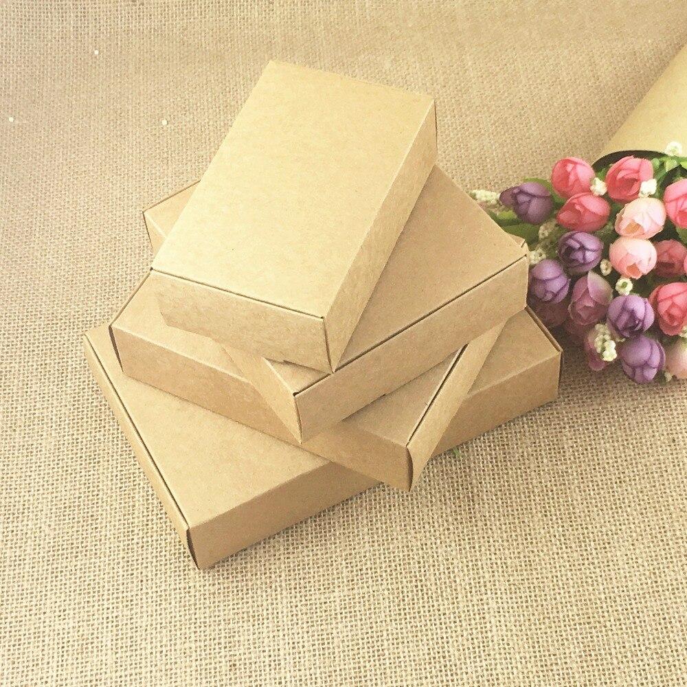 24 unids/lote de cajas de papel Kraft marrón para manualidades, caja de regalo pequeña para galletas, jabón hecho a mano, caja de embalaje para dulces para fiestas de bodas