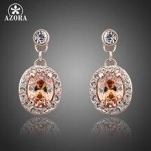 AZORA classique couleur or Rose Orange Stellux cristal autrichien boucles doreilles rondes TE0081