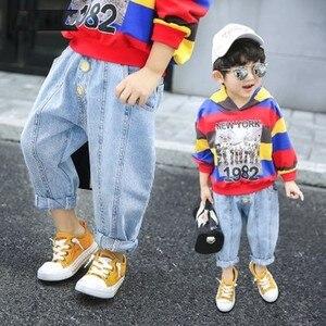 2 3 4 5 6 Years Toddler Boy Jeans Korean Casual Loose Trousers Pants for Girls Elastic Waist Kids Harem Pants Baby Denim Pants