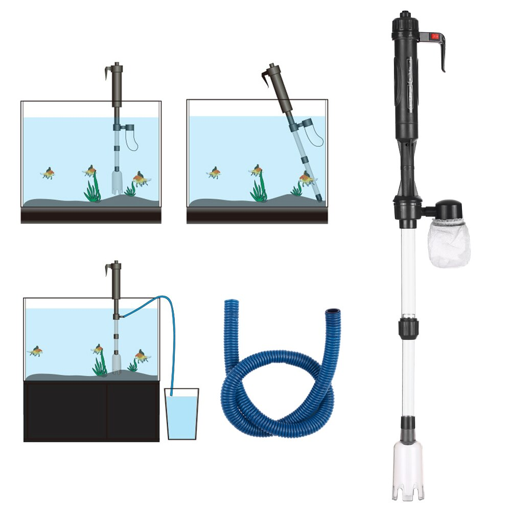aquarium cleaner fish tank sand cleaner kit with air pressing button and adjustable water flow controller clamp for fish tank Electric Gravel Cleaner Aquarium Fish Tank Water Changer Sand Washer Vacuum Siphon Operated Gravel Cleaner Aquarium Accessories