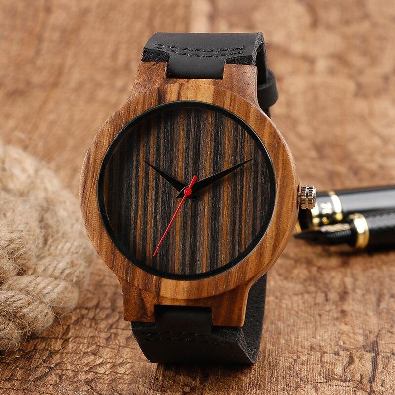 Reloj de pulsera único hecho a mano de madera, correa de cuero genuino negro, caja de madera marrón, Reloj de pulsera de cuarzo para hombres, Reloj de pulsera de regalo