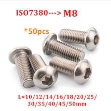 Vis à tête de bouton en acier inoxydable   304 ISO7380 M8 vis à tête ronde hexagonale A2, vis à tête hexagonale boulons longueur 10-50mm