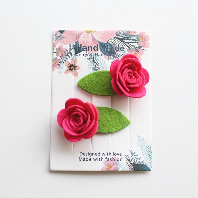 Reventa 4 unids/lote delicada rosa encantador niñas pinzas del pelo con flores horquillas fieltro de pelo Clips puro hecho a mano de hoja verde Clip