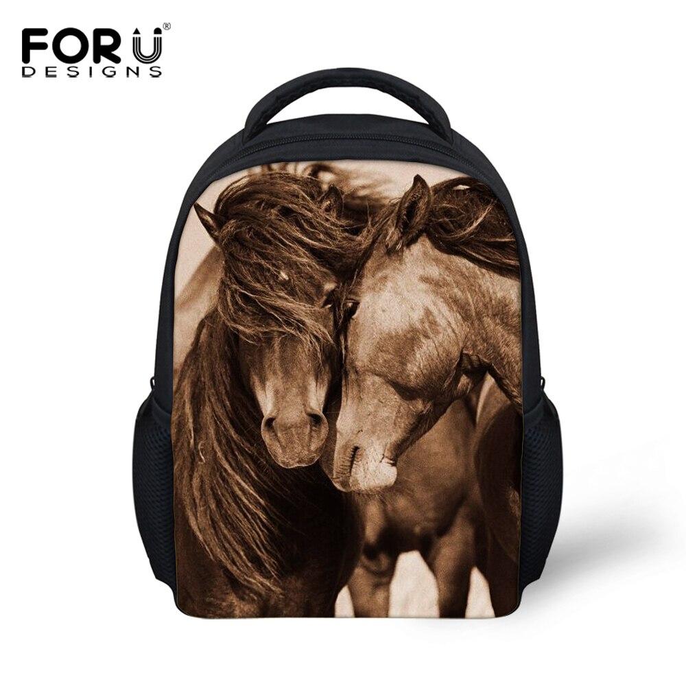 FORUDESIGNS, mochilas pequeñas para niños, mochila Crazy 3D con animales de caballo para niños, mochila para niños, mochilas escolares para niños, mochilas para guardería