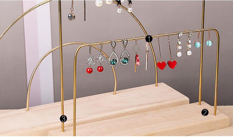 Creative solid wood iron earring rack jewelry display rack hanging ear nails Earring Pendant rack brass jewelry rack
