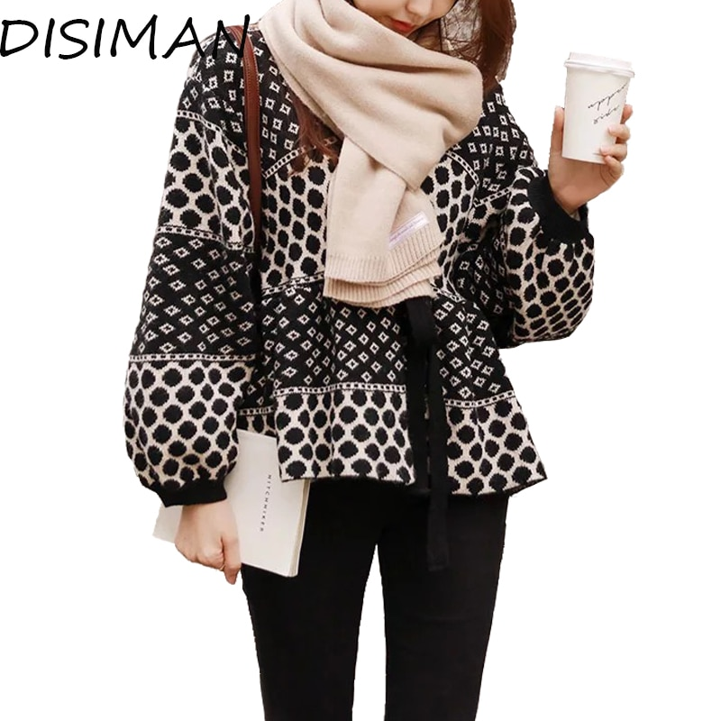 DISIMAN nueva ropa de invierno cárdigan mujer suelta suéter de punto otoño streetwear abierto pecho plaid cárdigan cuello en v suéter