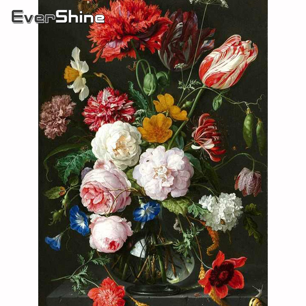 Evershine Diamond Painting Beads Scenic Diamond Mosaic Flower Diamond Embroidery Sale Full Round Drill Diamond Embroidery Decor