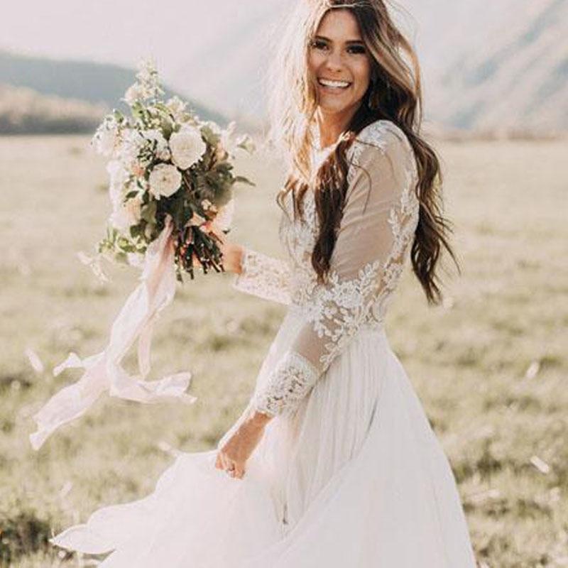 Купить с кэшбэком LORIE Boho Long Sleeve Wedding Dress 2019 Robe de mariee Vintage Lace Top New Bridal Dress Puffy Chiffon Wedding Dresses