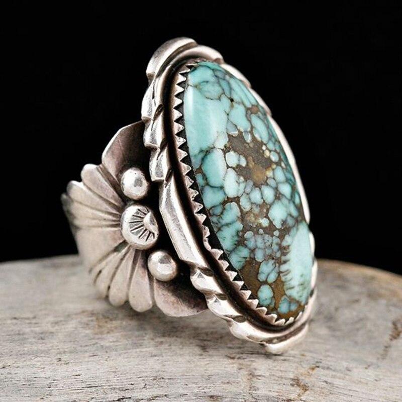 Bohemia Vintage tibetano azul Oval anillo de piedra Chapado en patrón tallado anillo grande hombre mujer anillo Anillos L3Q692