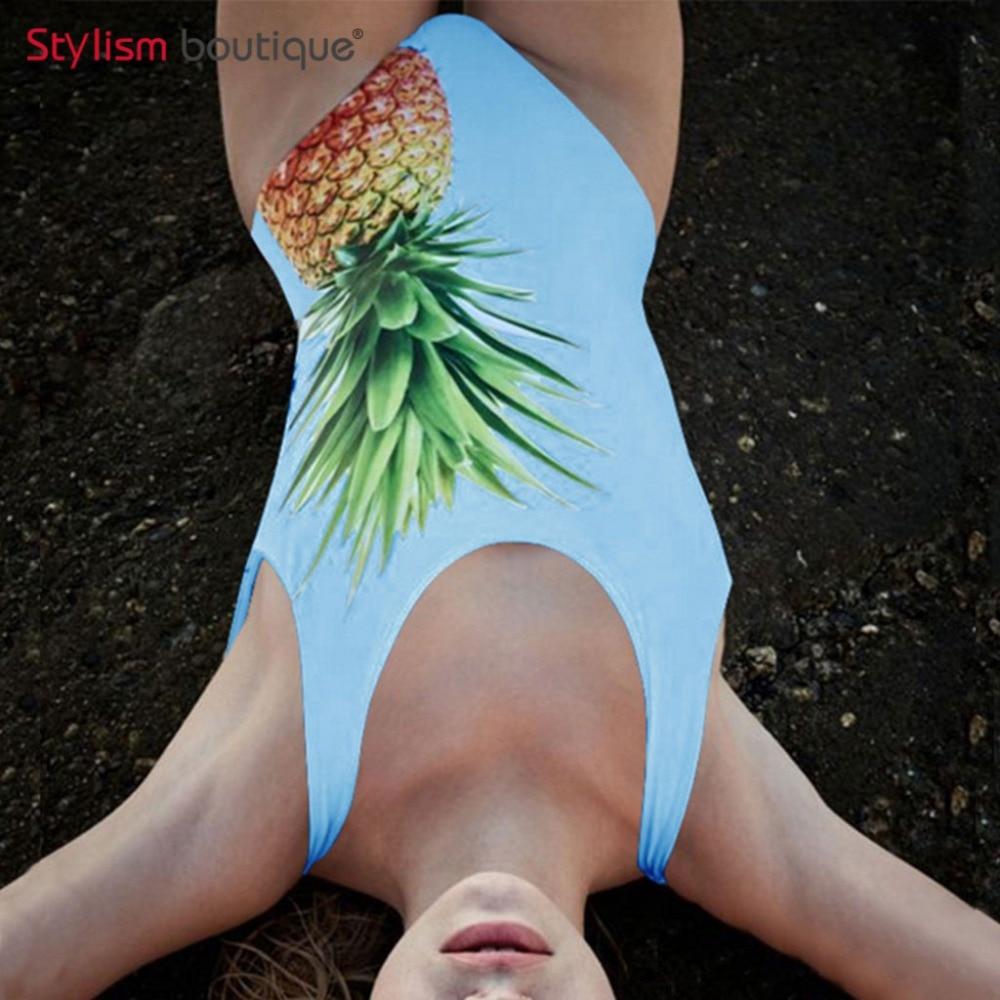 Abacaxi impresso maiô de uma peça de banho feminino terno de natação para mulher trikini 2018 sexy beachwear