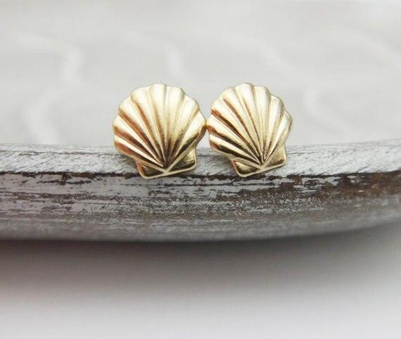1 par de pendientes de concha marina, pendientes de concha de mar, Ariel, pendientes de sirena náutico, pendientes de concha para fiesta en la playa