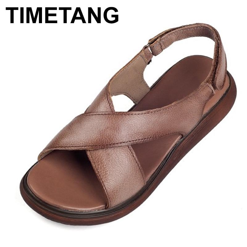 TIMETANG sandalias de mujer de cuero genuino estilo romano señoras zapato sandalias para mujeres verano 2018 suela gruesa zapatos de mujer antideslizantes