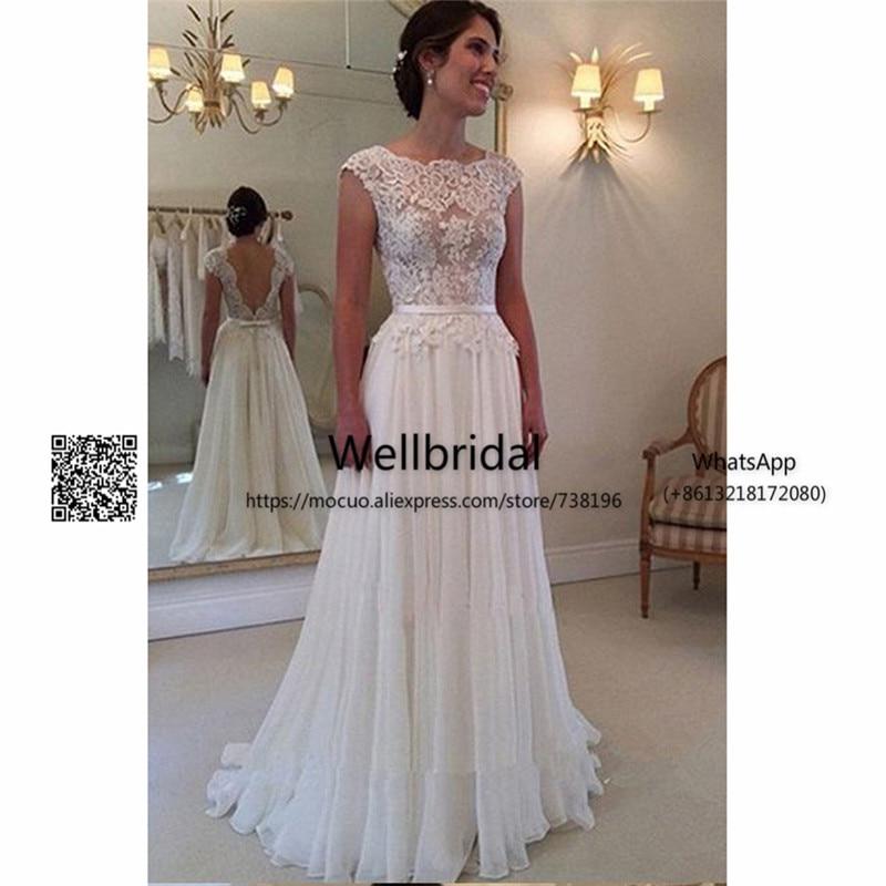 Summer 2017 Beach Wedding Dresses with Appliques Belt Chiffon Cap Sleeves Backless Vestidos de novia Bridal Dress Wedding Gown