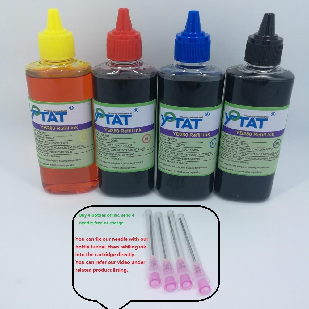 YOTAT 4pcs 100ml de tinta Corante para O Irmão LC229 LC227 LC225 LC223 LC221 LC239 LC237 LC235 LC233 LC669 LC663 cartucho de tinta ou CISS