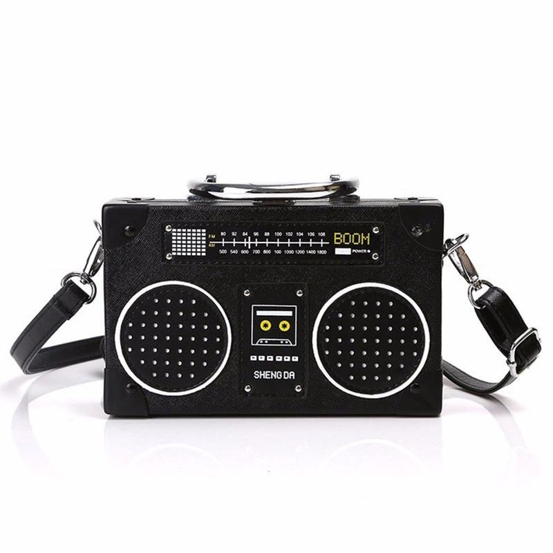 Personality Retro Radio Shape Bag Ladies Cute Handbag Shoulder Bag Messenger Bag Rock Crossbody Box package