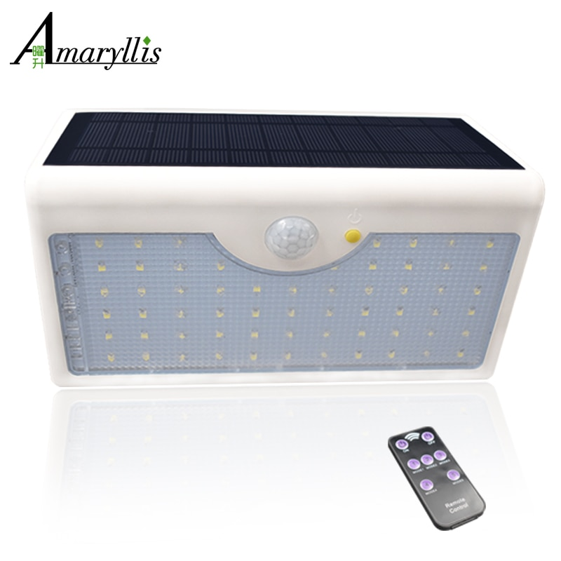 La más nueva luz Solar 1300lm 60 LED 5 modos con controlador IP65 lámpara de energía Solar impermeable para jardín al aire libre valla de pared