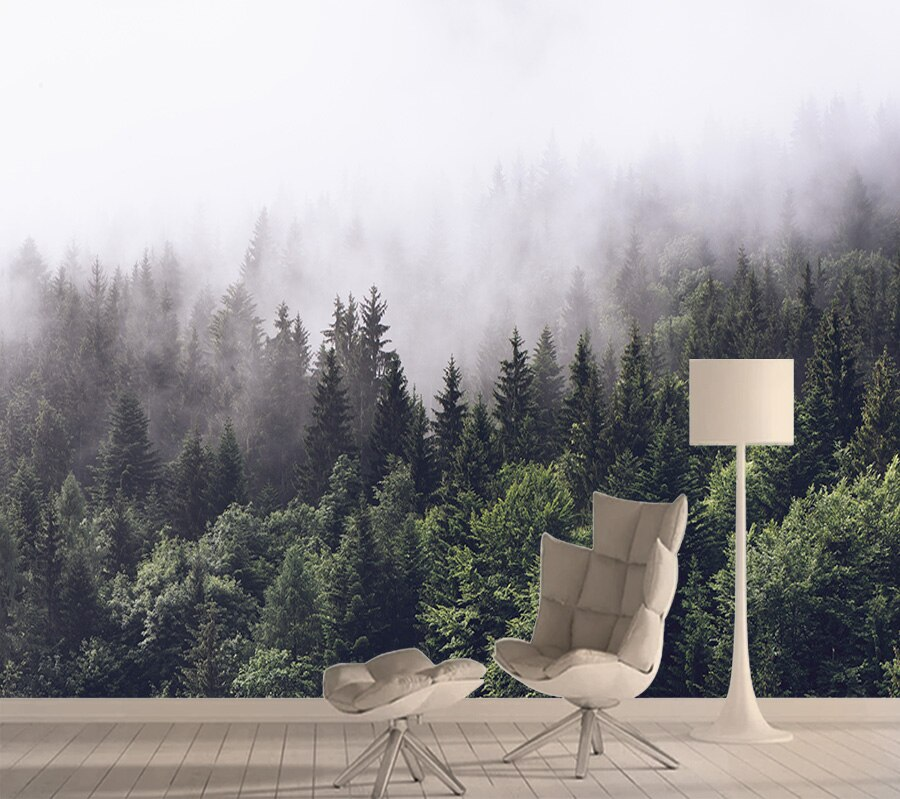 Naturaleza 3d foto Mural papel tapiz para sala de estar chica papeles tapiz decoración del hogar papel de Contacto dormitorio niebla bosque rollos